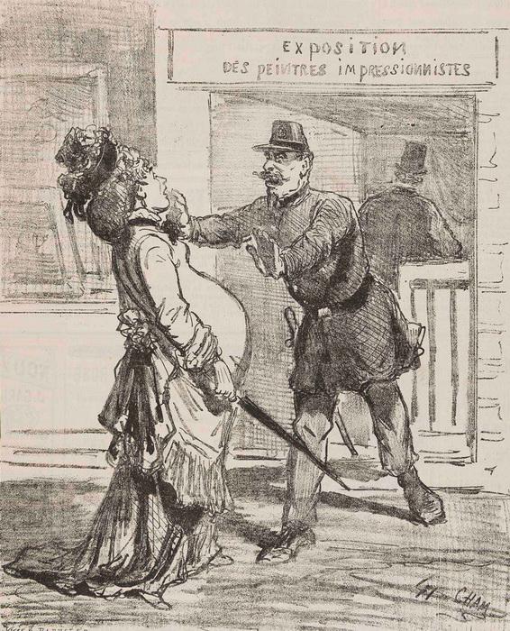 Карикатура из журнала 1874 г., высмеивающая первую выставку импрессионистов